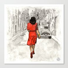 Woman in Red Dress Canvas Print