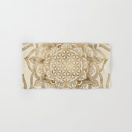 Flower of Life in Lotus - pastel golds and canvas Hand & Bath Towel