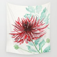 dahlia Wall Tapestries featuring Bursting With Excitement  by Kate Havekost Fine Art