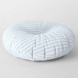 Mattress Ticking Narrow Horizontal Stripe in Pale Blue and White Floor Pillow