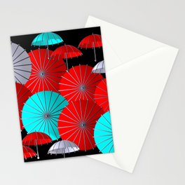 little umbrellas red, white and turquoise Stationery Cards