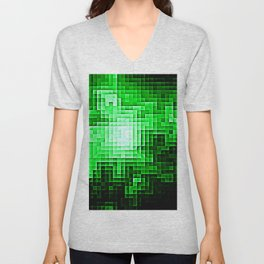 Nebula Pixels Emerald Green Unisex V-Neck
