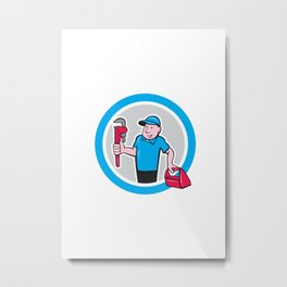 Plumber With Monkey Wrench Toolbox Cartoon Metal Print