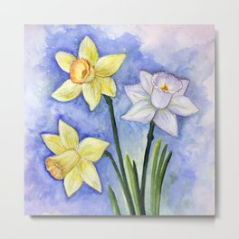 Daffodils, Narcissus, flower, blossom, spring, floral, botanical, original, painting, watercolor Metal Print