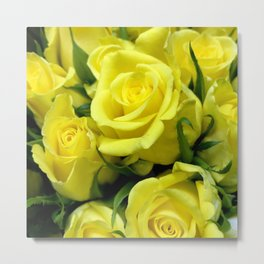 Yellow Glamorous Roses Floral Bouquet Metal Print