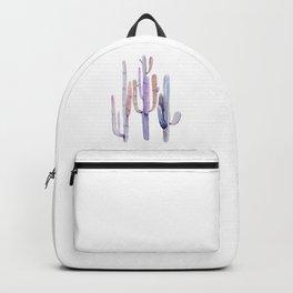 Minimalist Cactus Drawing Watercolor Painting Purple Backpack