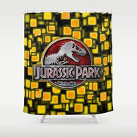 jurassic park Shower Curtains featuring JURASSIC PARK by BeautyArtGalery