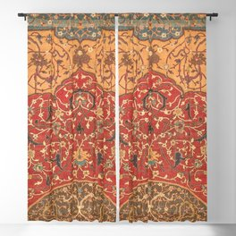 Flowery Vines III // 16th Century Contemporary Red Blue Yellow Colorful Ornate Accent Rug Pattern Blackout Curtain