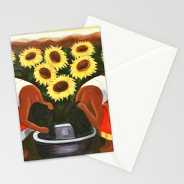 Two women in sunflower fields at sunrise landscape painting  Stationery Cards