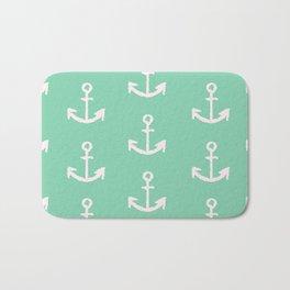 Anchors - mint green Bath Mat