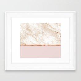 Caramel marble on rose gold blush Framed Art Print