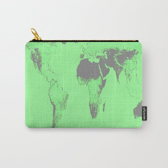 World Map : Gall Peters Seafoam Green Carry-All Pouch