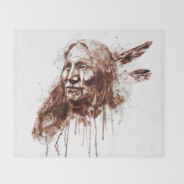Native American Portrait Sepia Tones Throw Blanket