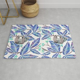 Happy Sloth – Tropical Blue Leaves Rug