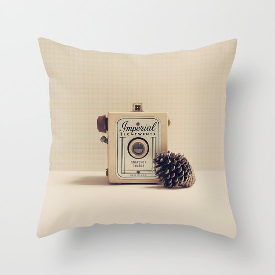Retro Camera and Pine Cone Throw Pillow