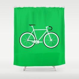 Green Fixed Gear Road Bike Shower Curtain