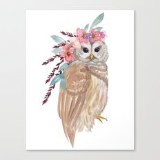 Owl with flower crown Canvas Print