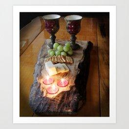 Rustic Wine and Cheese Art Print