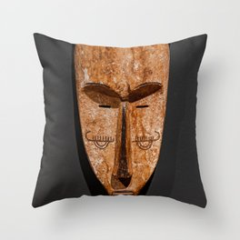 Cameroon fang ngil african wooden mask Throw Pillow