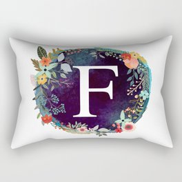 Personalized Monogram Initial Letter F Floral Wreath Artwork Rectangular Pillow