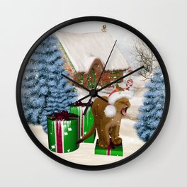 Christmas, Cute little lion with gifts Wall Clock