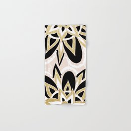 Modern black gold pink abstract floral pattern Hand & Bath Towel