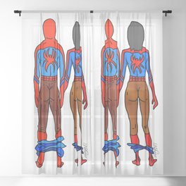 Superhero Butts Love 6 - Chocolate Sheer Curtain