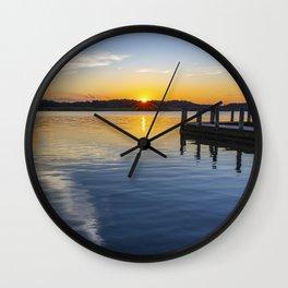 Sunset at the Boat Ramp Wall Clock