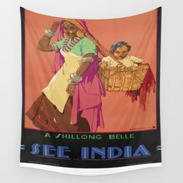 Vintage poster - India Wall Tapestry