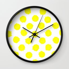 Lemon Drop Polka Dot Bright and Cheery Print Wall Clock