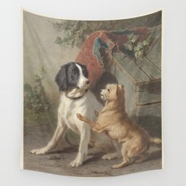 Conradijn Cunaeus - Two dogs in front of a doghouse (1838 - 1895) Wall Tapestry