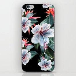 Tropical banana leaf, hibiscus vintage style, Hawaiian decor, retro iPhone Skin