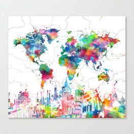 world map watercolor collage Canvas Print
