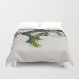 Minimal White Christmas Ornament and Evergreen (Color) Duvet Cover