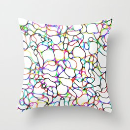Multiple Colored Curvy Lines Throw Pillow