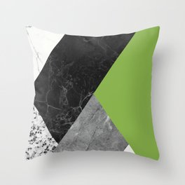 Black and White Marbles and Pantone Greenery Color Throw Pillow