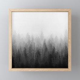 Into The Misty Nature - Black & White Framed Mini Art Print