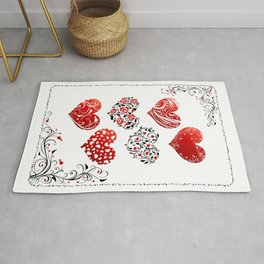 Red Floral Love Hearts Rug