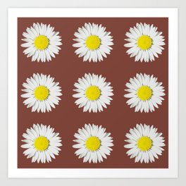 Retro Daisy · Brown Art Print