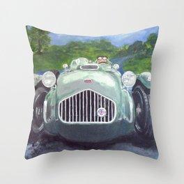 Racing Car on race track Throw Pillow