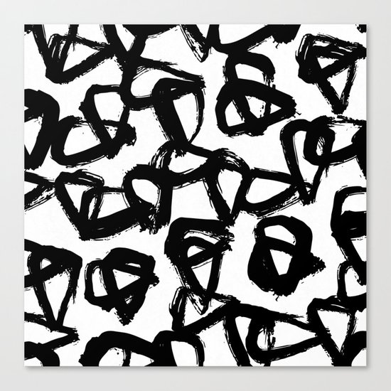 Painted Geometric Black and White Canvas Print