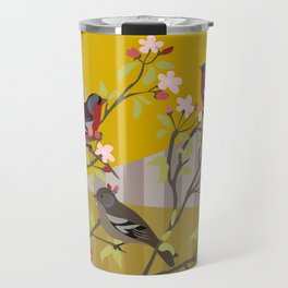chaffinches in the cherry tree Travel Mug