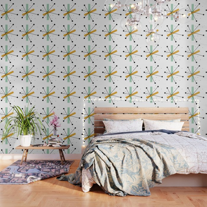 Retro Minimalist Mid Century Modern Pattern Design Wallpaper By