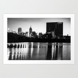 Indianapolis White River Skyline in Black and White Art Print