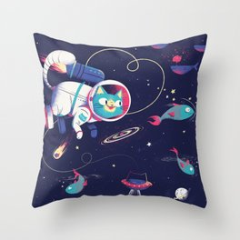 The Adventures of Space Cat Throw Pillow