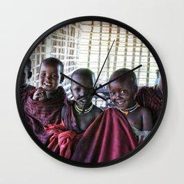 4239 Children Maasai Ngorongoro Tanzania Wall Clock