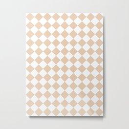 Diamonds - White and Pastel Brown Metal Print