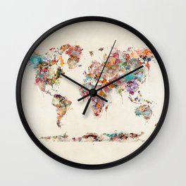 world map watercolor deux Wall Clock