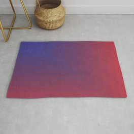 Abstract Rectangle Games - Gradient Pattern between Dark Blue and Moderate Red Rug