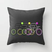 posters Throw Pillows featuring Olympic Posters - Cycle  by Samar